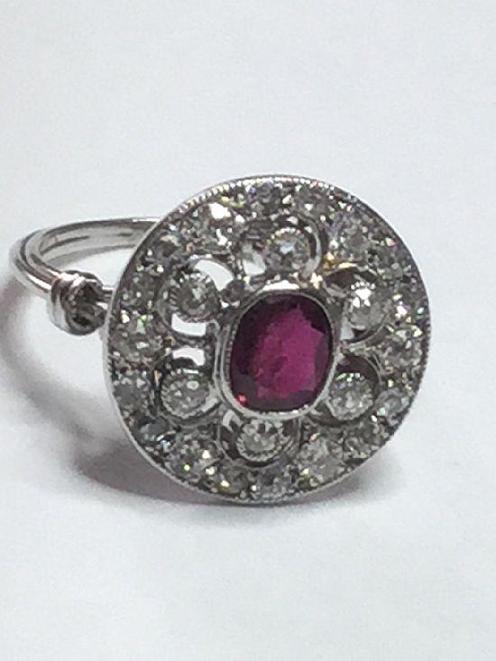 Antique Art Deco Platinum Ruby and Diamond Ring